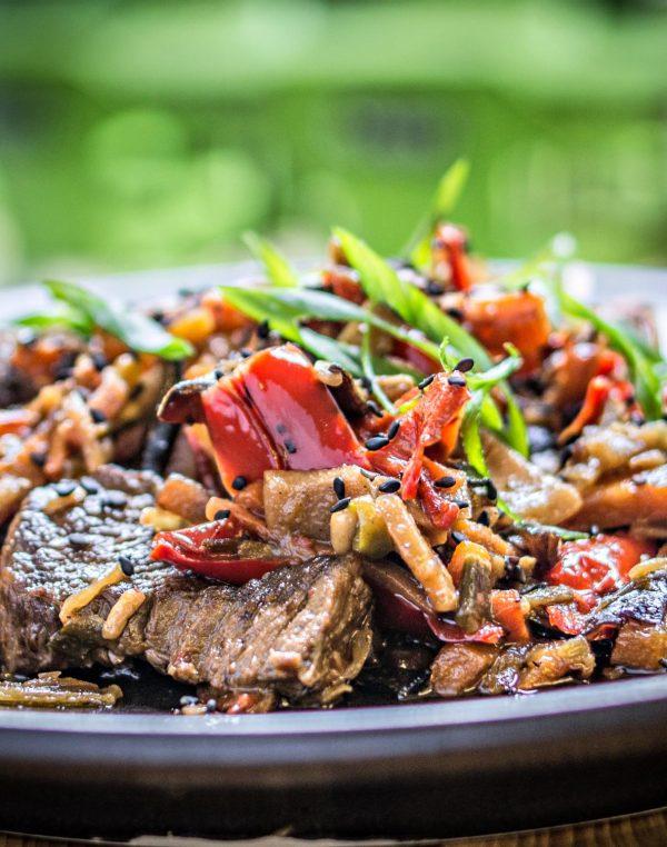 Szecsuáni marha, wok zöldségek